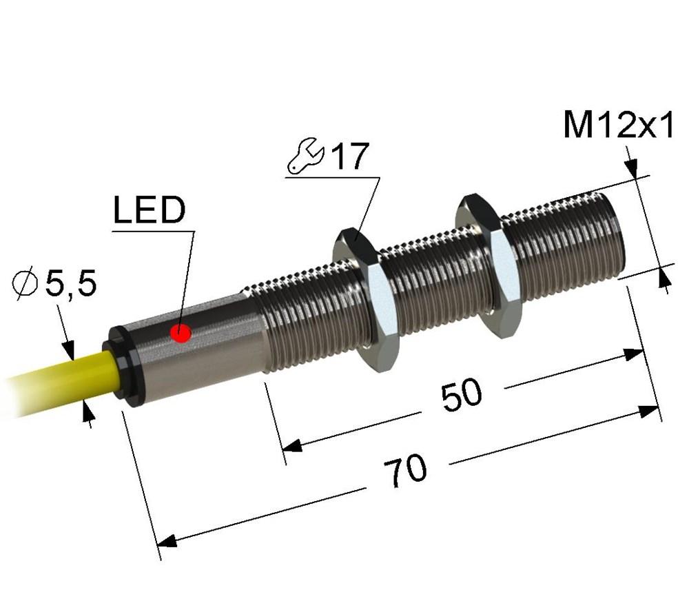 Индуктивный датчик VB2-12M70-2B84-K (ВБ2.12М.70.2.8.4.К)