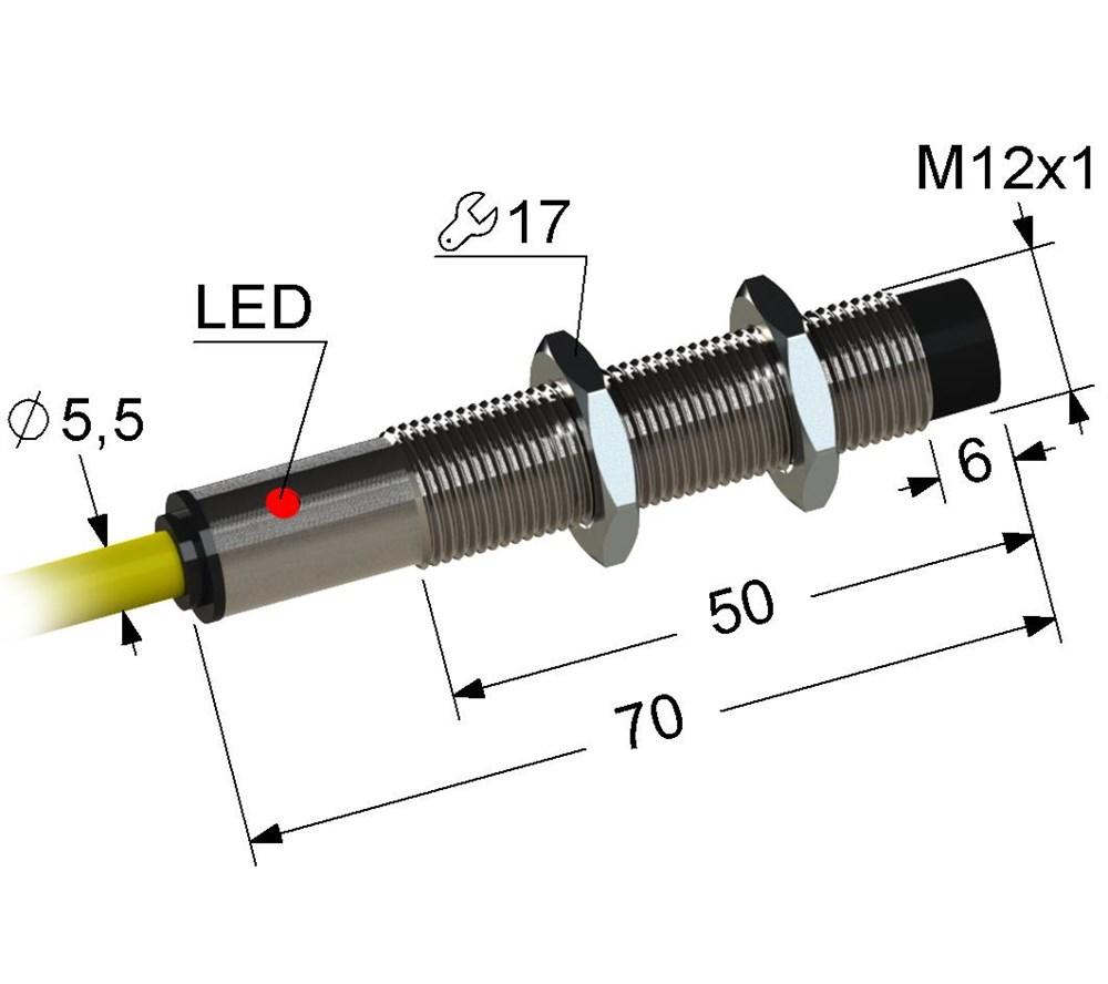 Индуктивный датчик VB2-12M70-4N74-K (ВБ2.12М.70.4.7.4.К)