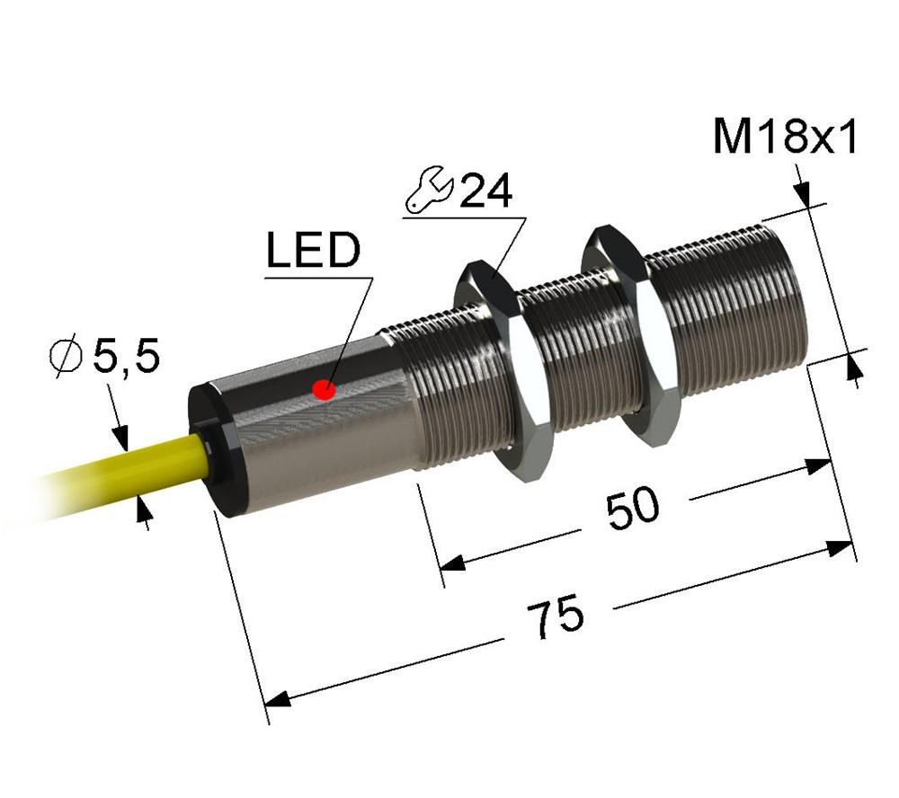 Индуктивный датчик VB2-18M75-5B74-K (ВБ2.18М.75.5.7.4.К)