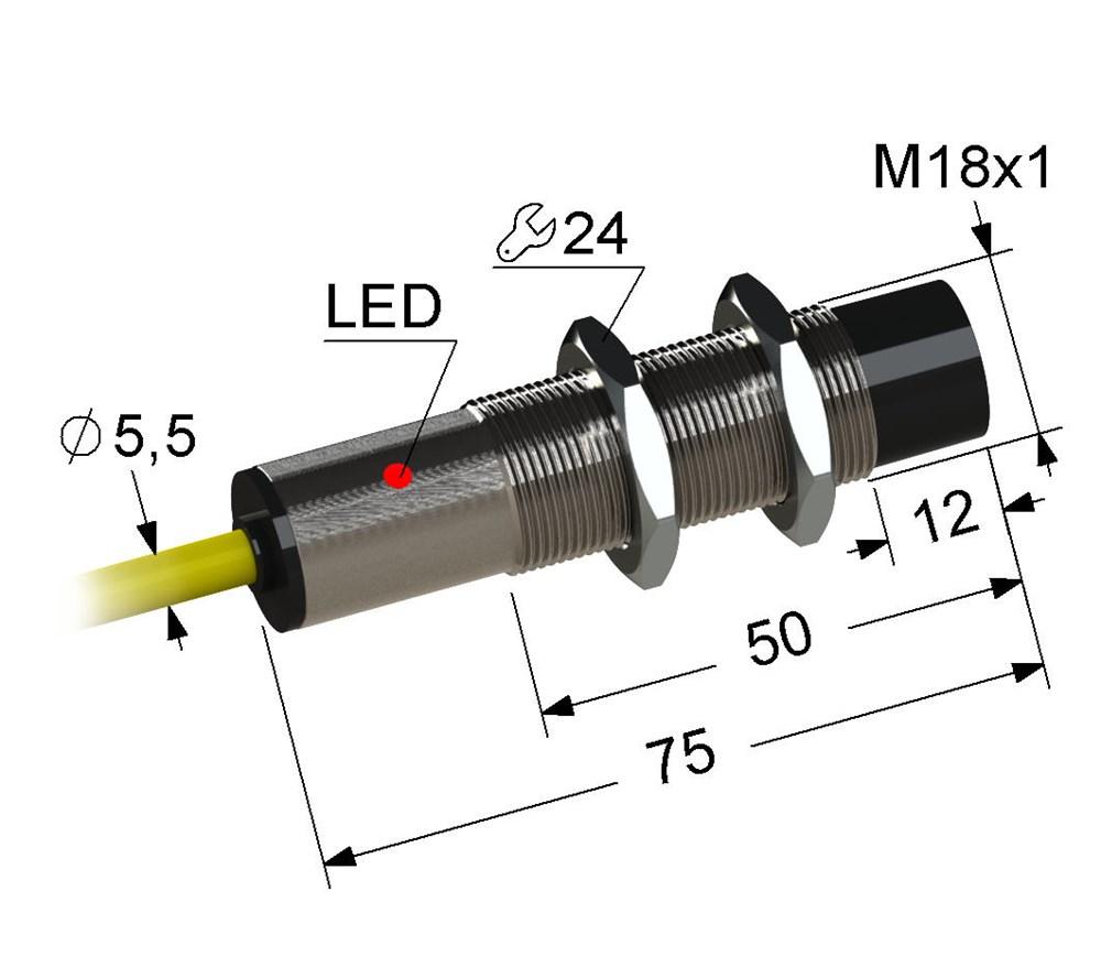 Индуктивный датчик VB2-18M75-8N74-K (ВБ2.18М.75.8.7.4.К)