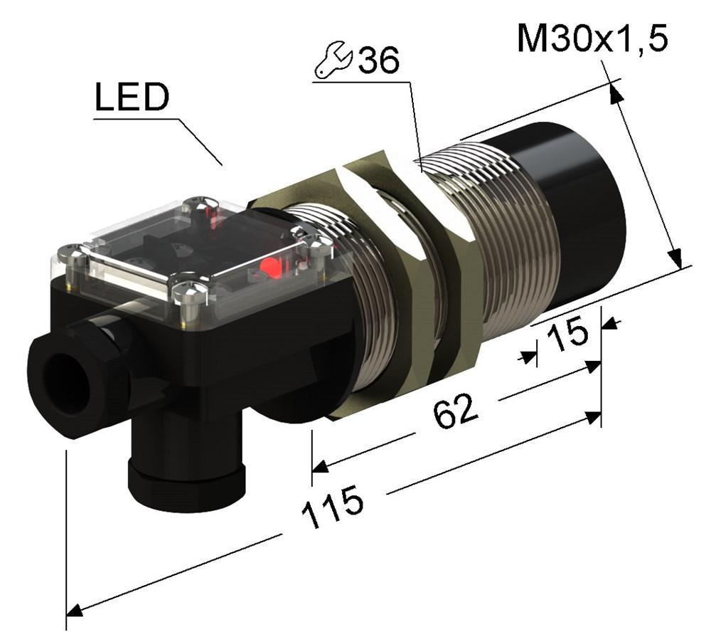 Индуктивный датчик VB2-30M115-15N74-T (ВБ2.30М.115.15.7.4.Т)