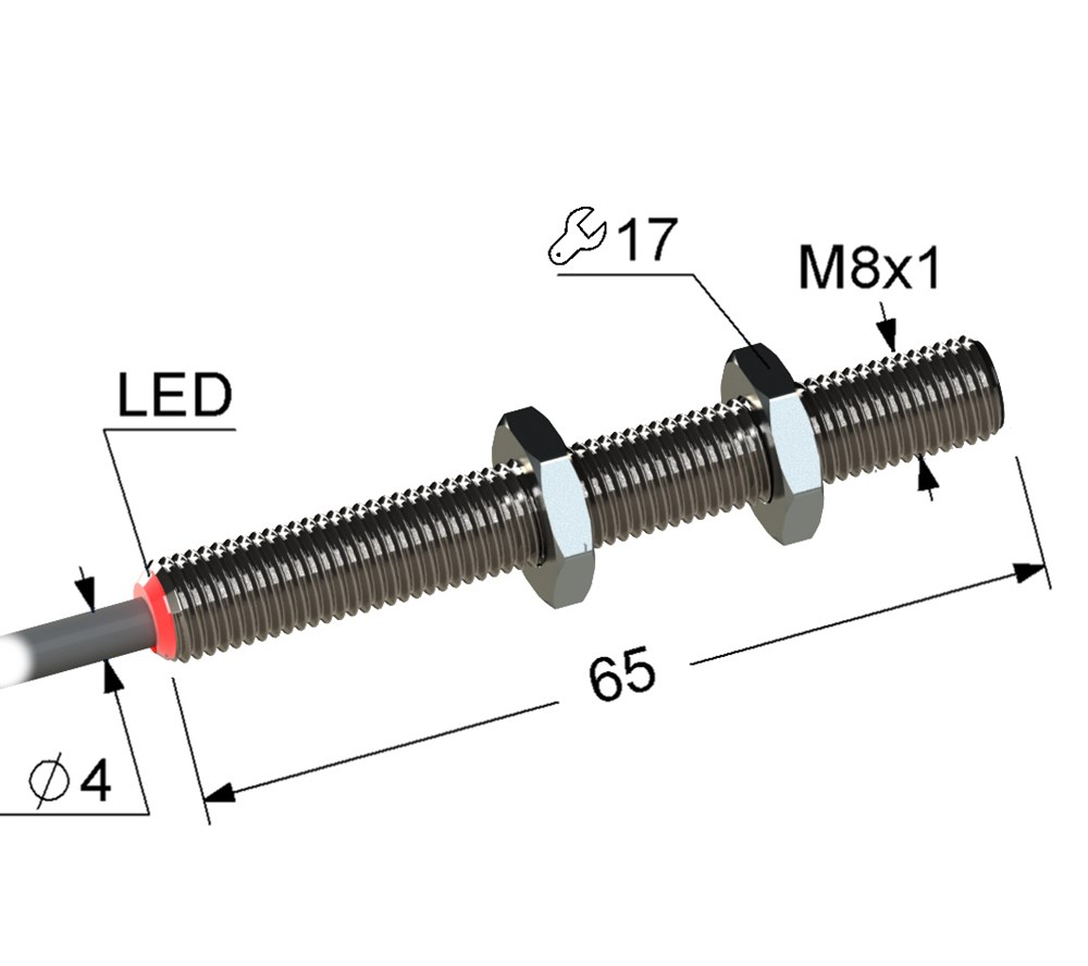 Оптический датчик VB3-08M65-T4000B1-K (ВБ3.08М.65.T4000.х.1.К), ИЗЛУЧАТЕЛЬ.