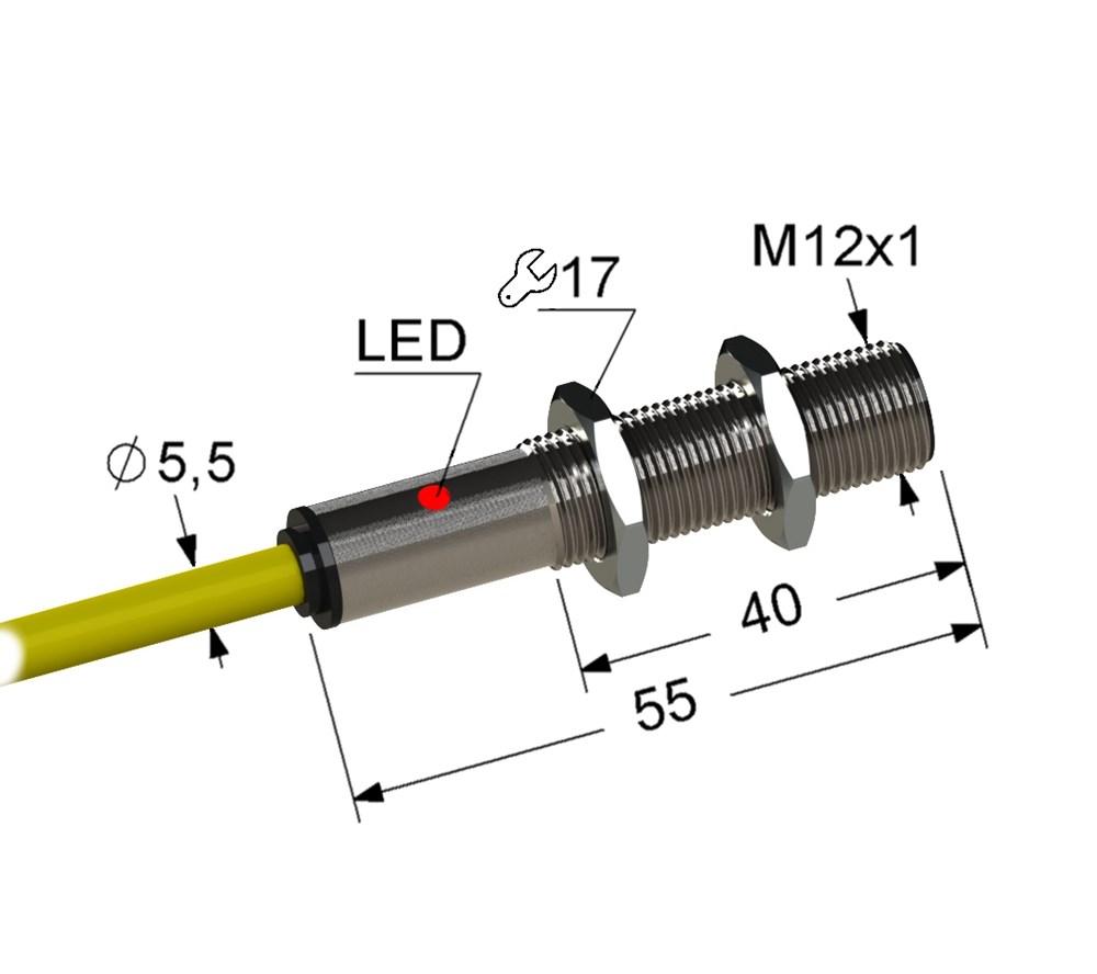 Оптический датчик VB3-12M60-R10000B241-K (ВБ3.12М.60.R10000.2П.1.К),ПРИЕМНИК.
