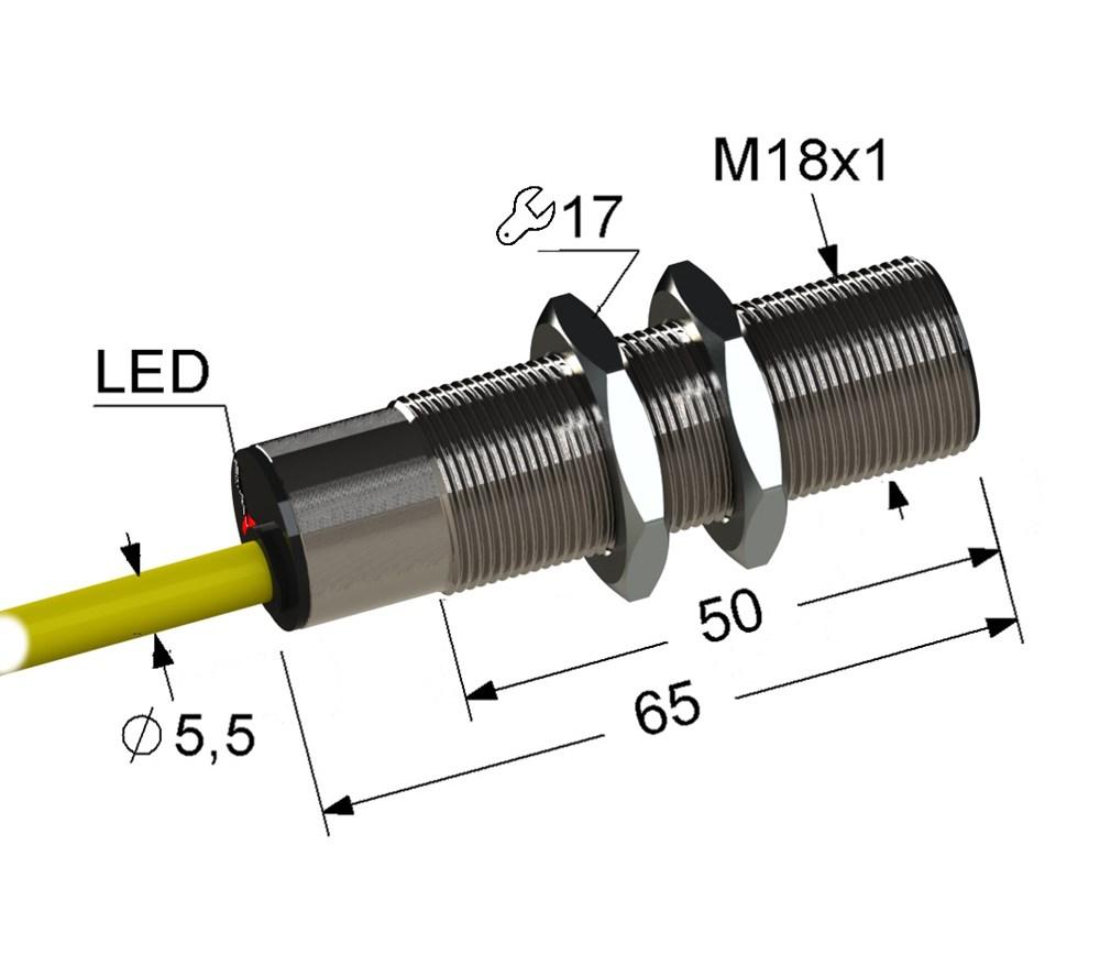 Оптический диффузионный датчик VB3C-18M65-TR1000B131-K (ВБ3С.18М.65.TR1000.1П.1.К)